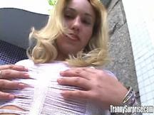 Blonde shemale fatty makes perfect blowjob