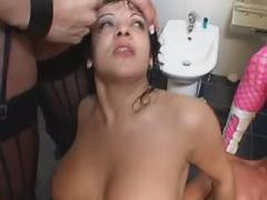 Hot playful tranny get messy facial after orgy