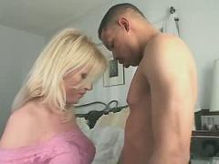 Nice blonde shemale with round ass gets fucked
