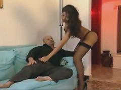 Amazing thick lipped shemale gets sucked on sofa