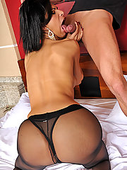 Renata Araujo shows her cock off in pantyhose before fucked