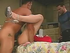 Four horny shemale and dude in orgy